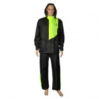 XSX AR801 Fashion Adults Motorcycling Waterproof Rain Coat + Pants - Black + Green (Size XL)