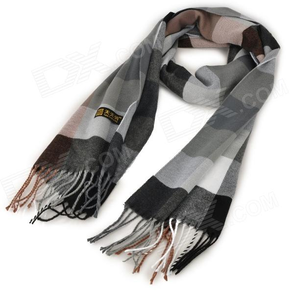 Casual Style Check Pattern Artificial Cashmere Scarf w/ Tassels - Grey + Black + White american flags pattern extra long scarf with tassels
