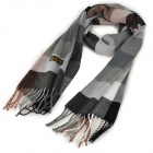 Casual Style Check Pattern Artificial Cashmere Scarf w/ Tassels - Grey + Black + White