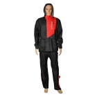 XSX AR801 Fashionable Motorcycle Cycling Raincoat + Rain Pants Suit - Black + Red (Size L)