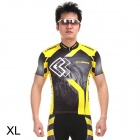 LANBO H88 Outdoor Cycling Jersey Men's Polyester Short Clothes - Yellow + Black (Size XL)