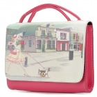 Cute Girl Pattern Water Resistant PU Shoulder Bag - Pink + White