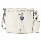 Women' s Casual Drawstring Bucket Shoulder Bag - Beige