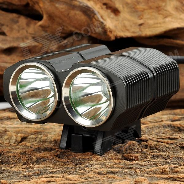 LusteFire BL-2 1200lm 4-Mode White Bicycle Light w/ 2 x Cree XM-L T6 - Black (4 x 18650) 600lm 3 mode white bicycle headlamp w cree xm l t6 black silver 4 x 18650