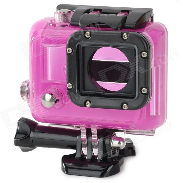 Protective Plastic Side-Open Case w/ Lens for GoPro Hero 3 - Deep Pink + Black