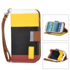 SN218 Protective PU Leather Case for Samsung Galaxy S3 i9300 - White + Yellow + Black + Red Brown