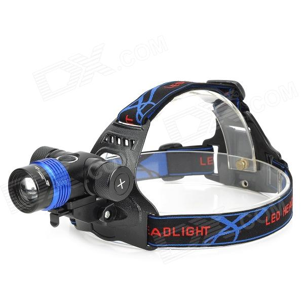 RAYSOON T383 600lm 3-Mode White Zooming Bicycle Headlamp w/ Cree XM-L T6 - Black + Blue (1 x 18650) 600lm 3 mode white bicycle headlamp w cree xm l t6 black silver 4 x 18650
