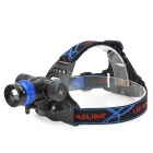 RAYSOON T383 Cree XM-L T6 600lm 3-Mode White Zooming Bicycle Headlamp - Black + Blue (1 x 18650)