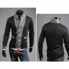 Fashionable Leisure Cardigan for Men -Grey + Black (Size-L)