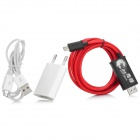 MHL-3 Micro USB to HDMI Audio Cable + Charger for Samsung S3 / S4 + More - Red + White + Black