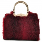 Graceful Rabbit Hair PU Shoulder Bag - Red + Black