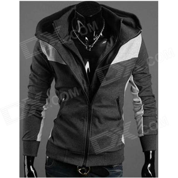 Men's Fashion Slim Style Cotton Hoodies Sweatshirts - Deep Grey (L)