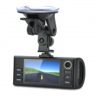 F60 Dual-Camera 3.0MP + 1.3MP CMOS Wide Angle Car DVR w/ GPS Tracker Module / 8-LED IR Night Vision