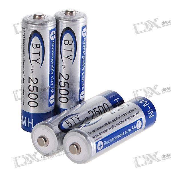 BTY 2500mAh Ni-MH Rechargeable AA Batteries (4-Pack) bty 1 2v 3000mah ni mh rechargeable aa batteries pair
