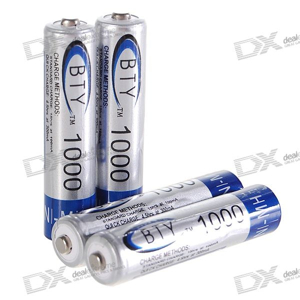 BTY 1000mAh Ni-MH Rechargeable AAA Batteries (4-Pack) 8pcs pkcell battery aaa pre charged nimh 1 2v 1200mah ni mh 3a rechargeable batteries up to 1000mah capacity cycle 1200times