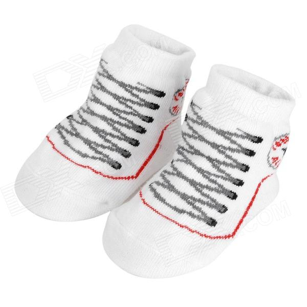 Comfortable Warm Cotton Baby / Infant Socks - White + Red + Black (2 PCS)