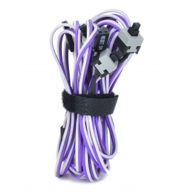 Computer Chassis Power + Reset Button Switch Cables Set - Purple + White + Black (5 PCS)