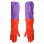 Y-035 Waterproof Cleaning Rubber + Cotton Two-Section Sleeve Gloves - Red + Purple (Pair)