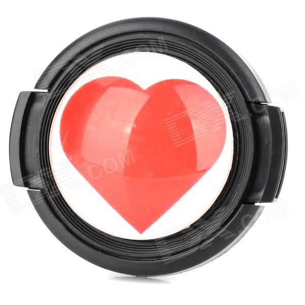 Cute Heart Pattern 40.5mm Lens Cap - Black + White + Red