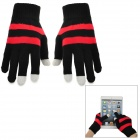 Stripes Pattern Woolen Gloves for Touch Screen - Black + Red (Pair)