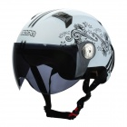 BEON L33 Stylish Flower Style Motorcycle Helmet - White + Black (Size XL)