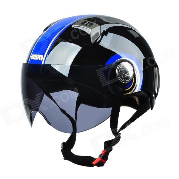 BEON L32 Cool Helmet for Motorcycle - Black + Blue (Size XL)