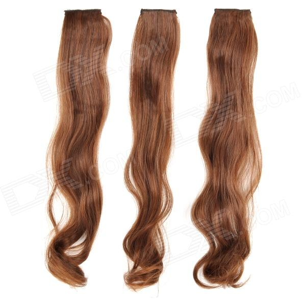 Fashionable Curly High Temperature Silk Fiber Hairpin Wig - Light Brown (3 PCS) цена