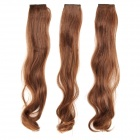 Modische Curly High Temperature Silk Fiber Haarnadel Perücke - Hellbraun (3 PCS)