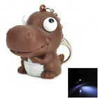 Cartoon Dinosaur Style LED White Flashlight Keychain - Coffee + White (3 x AG10)