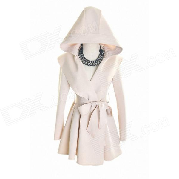 Long Slim Fit Hooded Dust Women's Coat - Khaki (Size L)