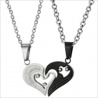 GX537 Fashionable Personality Heart Style Titanium Steel Couple's Necklaces - Silver + Black (2 PCS)
