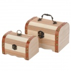 Retro Poplar + Cedrela Sinensis Wood Storage Jewelry Case Artwork - Wood (2 PCS0