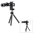 12X Universal Telescope Lens w/ Holder for Cell Phone - Black + Silver