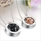 GX603 Classic Crown Rhinestones Titanium Steel Couple's Necklaces - Golden + Silver + Black