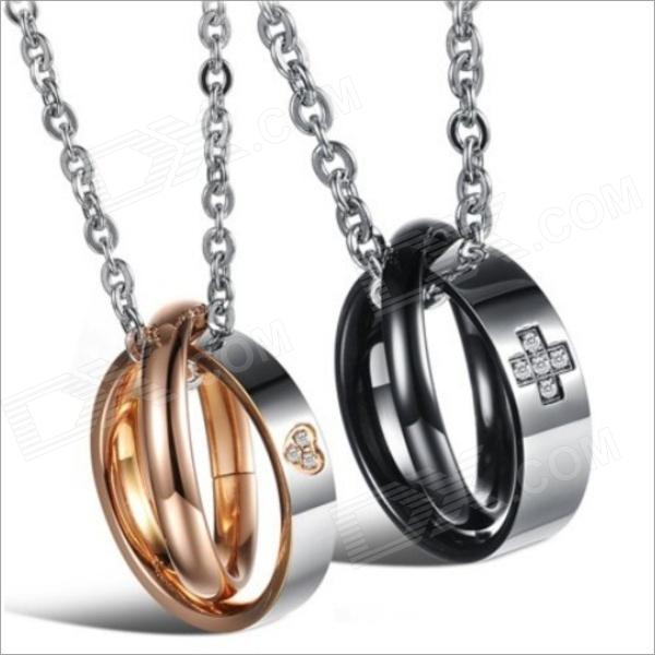 GX828 Cross Love Heart Titanium Steel Couple's Necklaces - Golden + Silver + Black (2 PCS) kcchstar the eye of god high quality 316 titanium steel necklaces golden blue