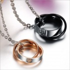 GX828 Cross Love Heart Titanium Steel Couple's Necklaces - Golden + Silver + Black (2 PCS)