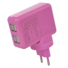 4-Port USB AC Charging Adapter Charger for Ipad / Iphone / Samsung / Cell Phone - Purple (EU Plug)