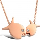 GX449 Fashionable Personality Kiss Fish Titanium Steel Necklace for Women - Golden