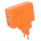 4-Port USB AC Charging Adapter Charger for IPAD / Samsung - Orange (EU Plug/100~240V)