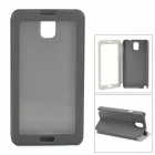 Protective PU Leather Flip Case w/ Clear Plastic Touch Window for Samsung Galaxy Note 3 N900 - Black