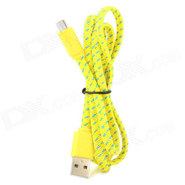 USB Male to Micro USB Male Nylon Woven Data Sync / Charging Cable - Yellow (100cm) nylon usb 2 0 male to micro usb male data sync charging cable for samsung more yellow 100cm