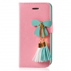 MIGG Butterfly Style Protective PU Leather Case Cover for Iphone 5 - Pink + Green