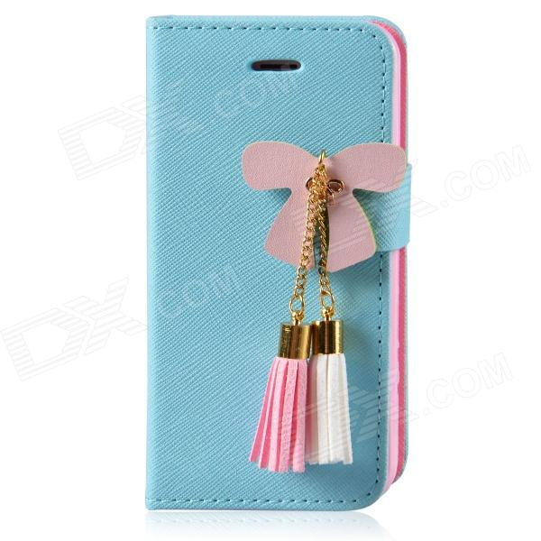 MIGG Butterfly Style Protective PU Leather Case Cover for Iphone 5 - Blue + Pink