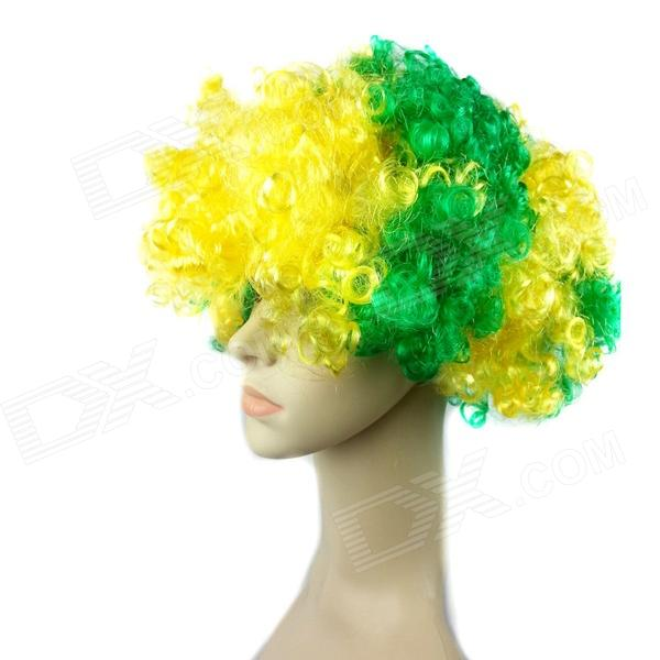 The Brazilian World Cup fans Curly Wig - Green + Yellow