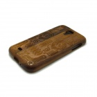 ZY-115 Detachable Protective Wooden Back Case for Samsung Galaxy S4 i9500 - Brown + Black