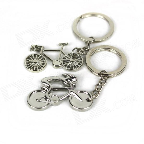 Bike Style Zinc Alloy Keychain - Silver (2 PCS) creative toothpaste and toothbrush style zinc alloy keychain silver 2 pcs