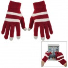 Stripes Pattern Woolen Gloves for Touch Screen - Red + White (Pair)