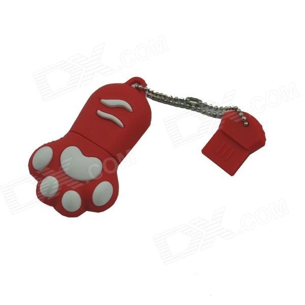 Cat Paw Style USB 2.0 Flash Drive Disk - Red + White (16GB)