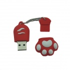 Cat Paw Style USB 2.0 Flash Disk Drive - Red + White (16GB)