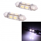 Festoon 39mm 4W 192lm 8 x SMD 5630 LED White Light Car Decoding Reading Lamp Dome Bulb (12V / 2 PCS)